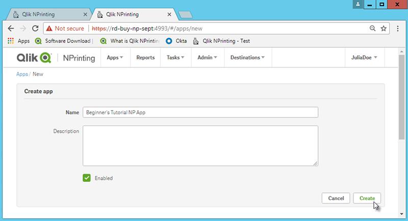 Publishing a simple report from a Qlik Sense app ‒ Qlik NPrinting