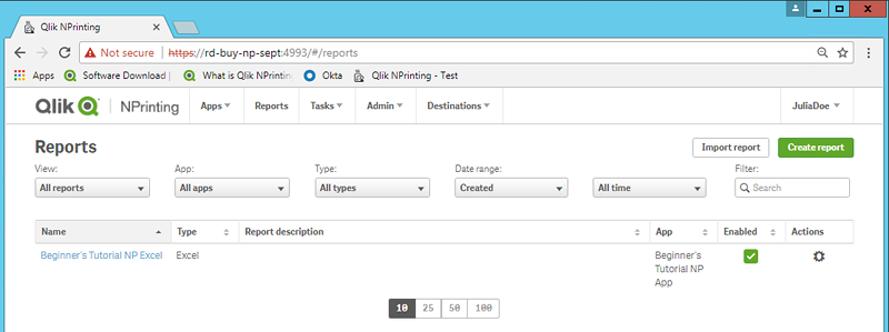 publishing a simple report from a qlik sense app qlik nprinting