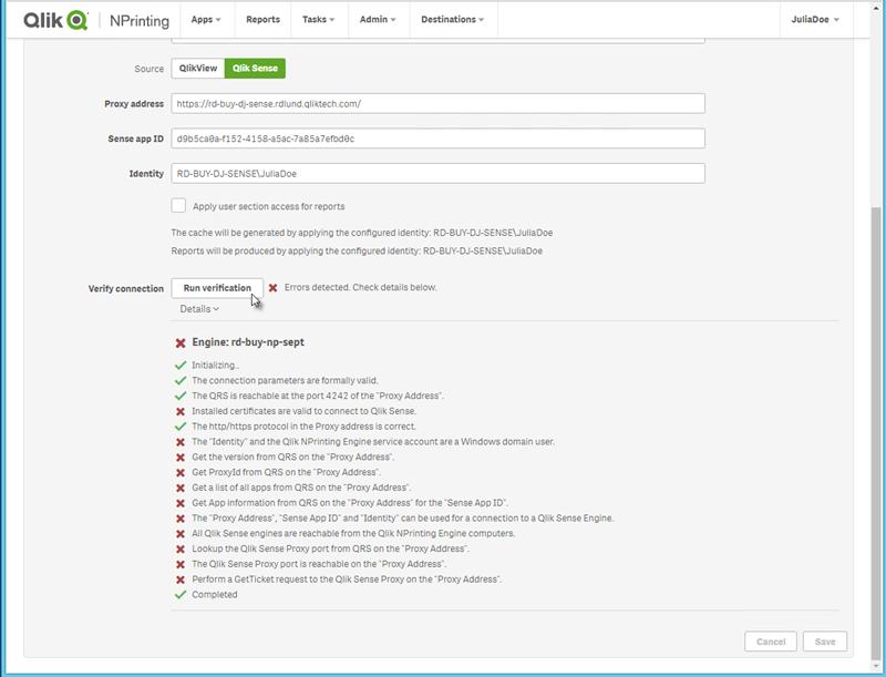 Connecting to Qlik Sense apps ‒ Qlik NPrinting