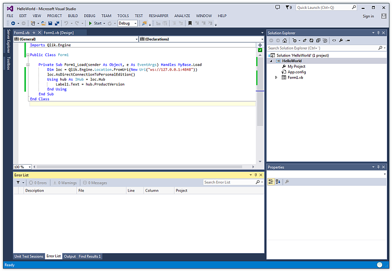 Creating a basic Visual Basic Windows Forms application ‒ Qlik Sense on abstract window toolkit, asp.net, code access security, component object model, graphics device interface, application chart, windows api, common language runtime, visual basic .net, application menu, windows presentation foundation, windows communication foundation, application paper, microsoft visual studio express,