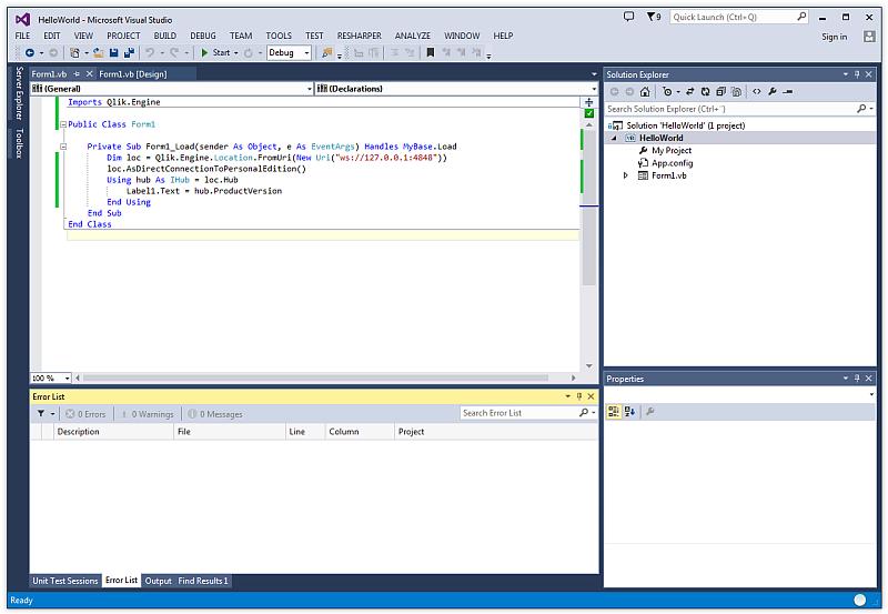 Creating a basic Visual Basic Windows Forms application ‒ Qlik Sense