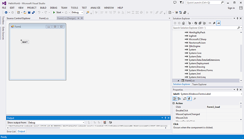 Creating a basic Visual Basic Windows Forms application ‒ Qlik Sense