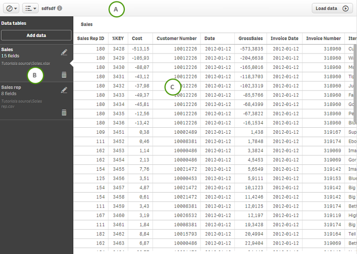 Data manager ‒ Qlik Sense