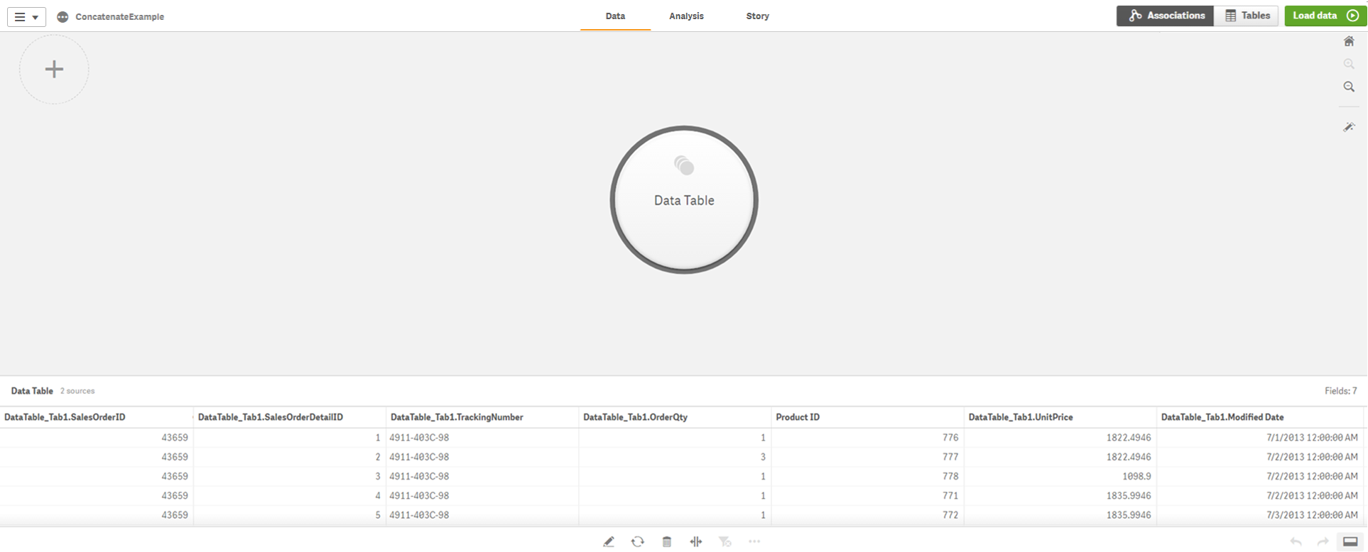 Step-by-step - Combining tables using forced concatenation ‒ Qlik Sense