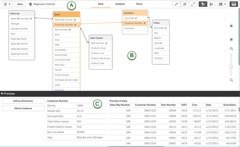 Data model viewer ‒ Qlik Sense