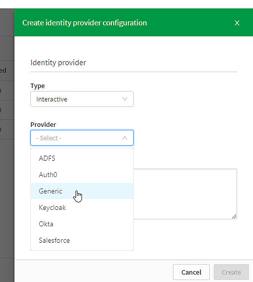 When creating an interactive identity provider configuration, choose from a list of several different providers.