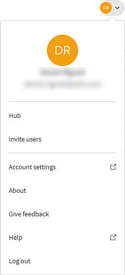 Open the 'Invite users' dialog from the profile menu.