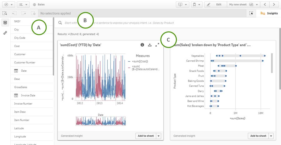 使用 Insight Advisor 从您的数据中创建可视化